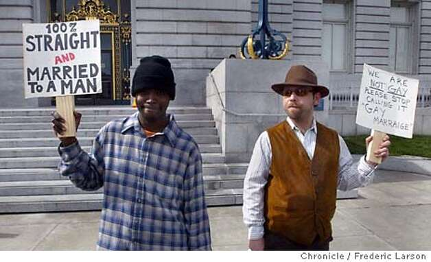Curtis Jenkin and Don Eigenhauser (right) got married at City Hall in San Francisco saying they are best friends and straight