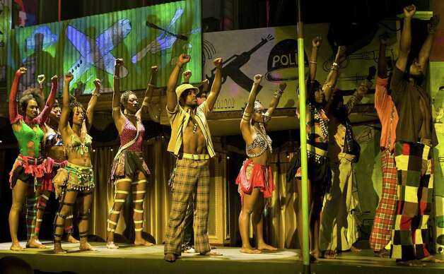 a scene from s the national touring company of  Fela!,  the musical based on the life of pioneering Afrobeat musician and political activist Fela Kuti. Society for the Performing Arts presents the show June 5-10 at Jones Hall. Photo: Tristram Kento / HC
