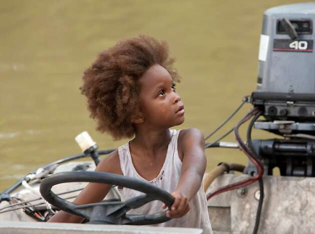 """Quvenzhane Wallis as """"Hushpuppy"""" on the set of BEASTS OF THE SOUTHERN WILD. Photo: Mary Cybulski, Fox Searchlight / SF"""