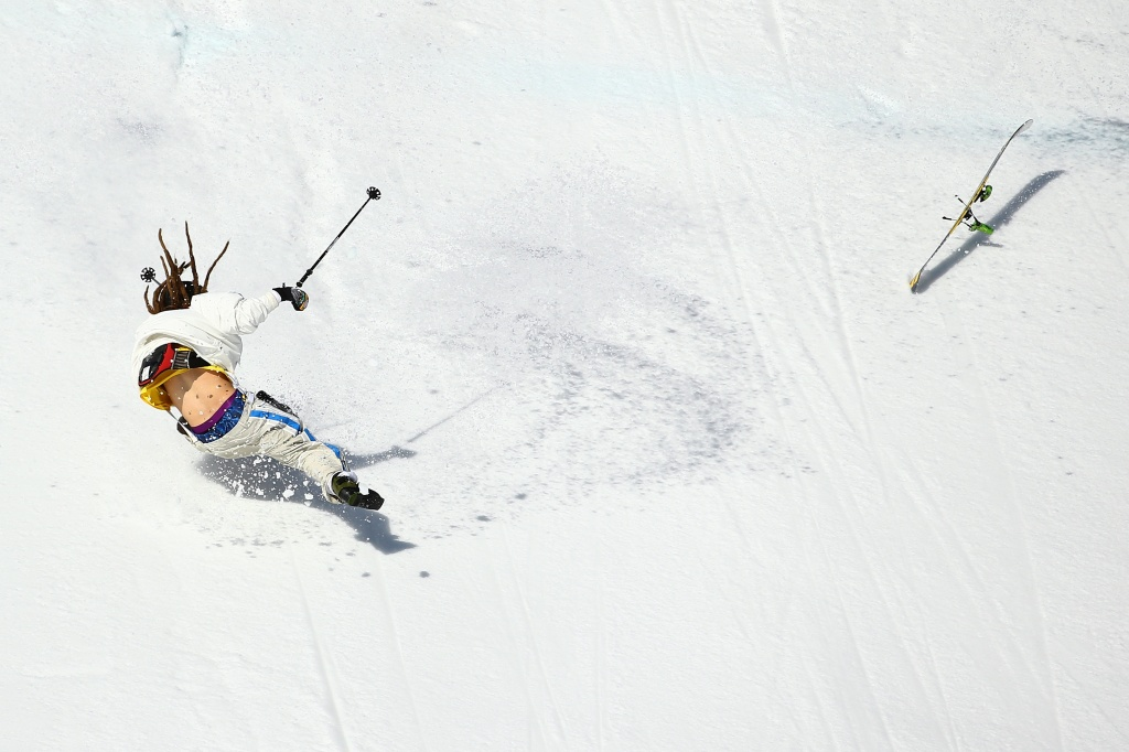 Henrik Harlaut of Sweden falls while competing in the