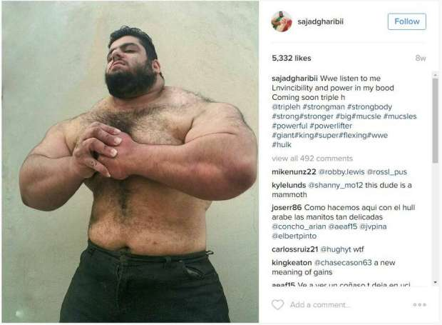 """Sajad Gharibi, a bodybuilder out of the Middle East, is getting a lot more social media buzz for his physique, being dubbed both the """"Iranian Hulk"""" and """"Persian Hercules."""" Photo: Courtesy/Instagram"""