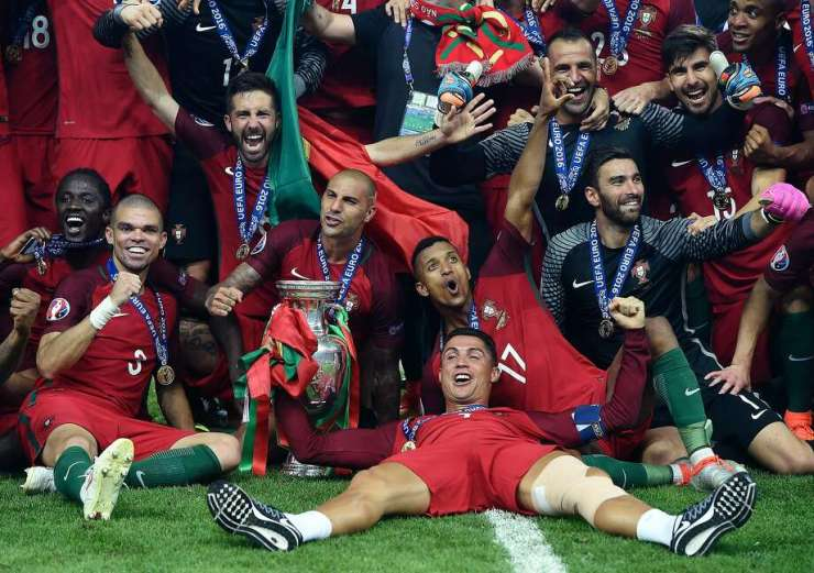 Image result for images of the ceremony of awarding cristiano ronaldo as the best player of europe 2016