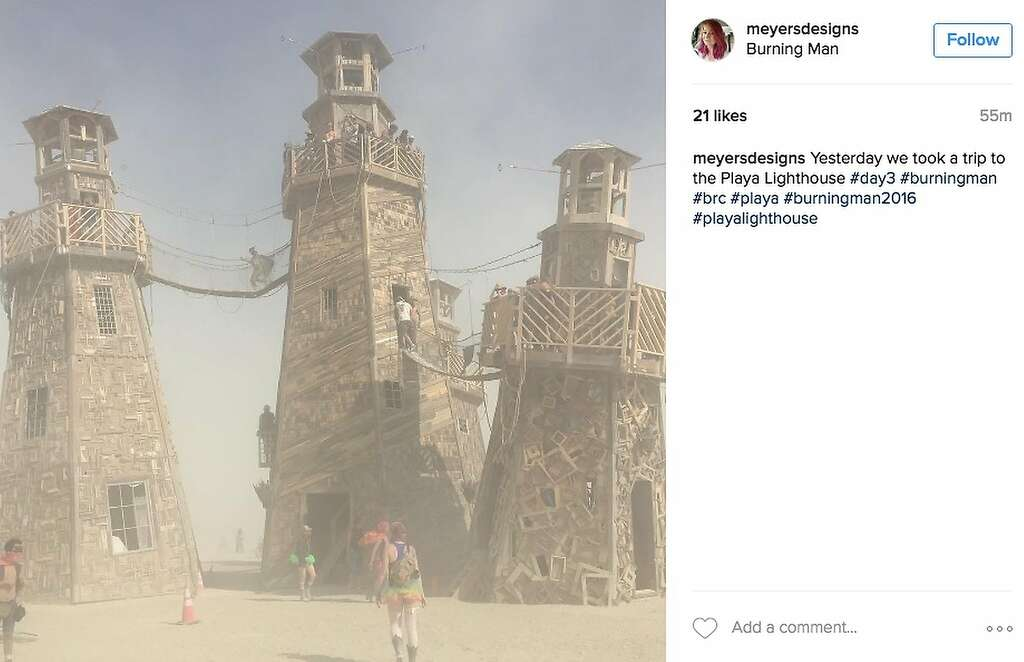 Lighthouses serve as refuges for burners in the swirling dust. Photo: Instagram Screenshot