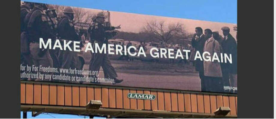 "The billboardA billboard in Mississippi featuring Donald Trump's ""Make America Great Again"" slogan and photos from ""Bloody Sunday,"" one of the most violent attempts to stop the Civil Rights movement in 1965 is drawing criticism from state and local officials. Photo: Twitter"