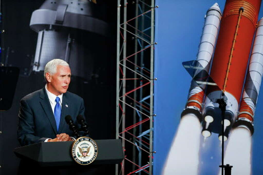 Hasil gambar untuk Vice President Pence participates in a walking tour of the National Space Defense Center