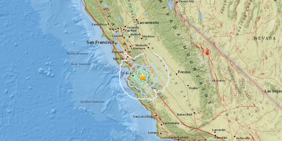 A 4.7 magnitude earthquake and a series of smaller aftershocks shook Monterey County Monday, officials said.Screenshot/USGS Photo: Screenshot