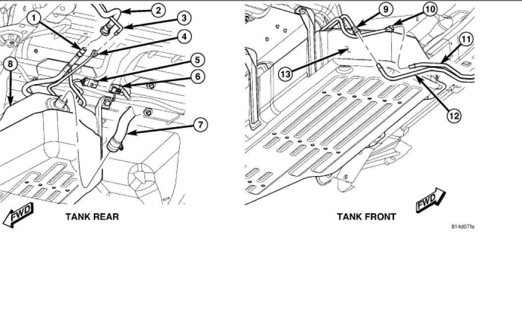 Localizacion de la bomba de gasolina y filtro para una Jeep