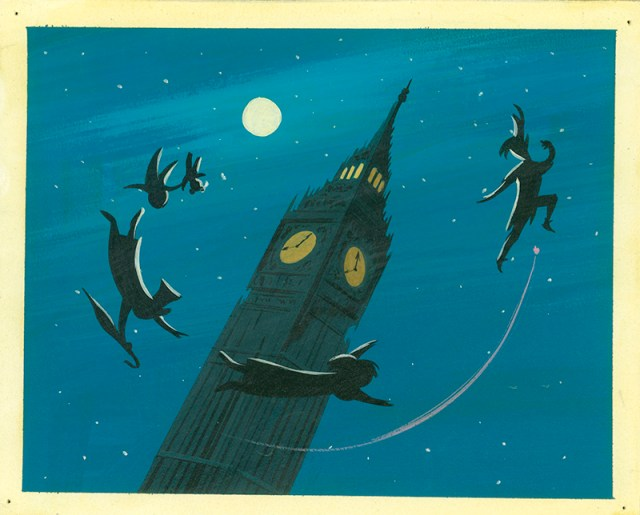 Mary Blair, Concept art of Peter and children silhouetted around Big Ben, ca. 1953;