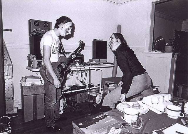 Mark and Jerry of Devo wearing masks back in the early days