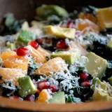 Christmas Kale Salad with Pomegranate,Tangerine and Avocado