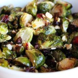 Roasted Brussels Sprouts with Dried Cranberries, Toasted Hazelnuts, and Orange Zest for Thanksgiving