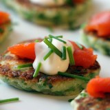 New Year's Party Recipe: Sweet Pea Pancakes with Smoked Salmon and Crème Fraiche