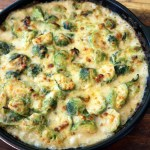 Thanksgiving Side Dish: Creamy Brussels Sprouts and Bacon Gratin with Shallots and Gruyère