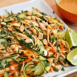 Thanksgiving Leftovers: Asian-Style Noodle Salad with Turkey, Veggies, Herbs, and Lime-Peanut Vinaigrette