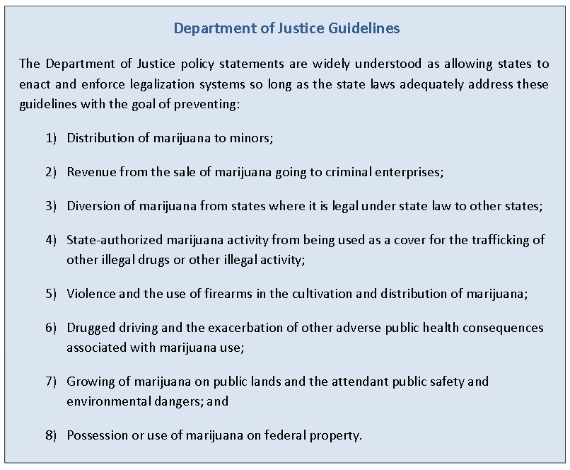 "Federal law is one aspect of recreational marijuana legalization the Blue Ribbon Commission report attempts to navigate. ""The clear message from the current administration is that states will not be sanctioned for legalizing recreational or medical cannabis use if they work within these guidelines,"" the report says. (From Pathways Report: Policy Options for Regulating Marijuana in California)"