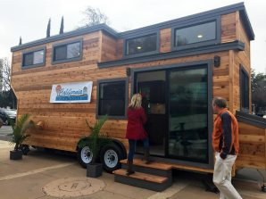 A 'tiny house' parked in front of Fresno City Hall. Fresno recently updated its development code to legalize these kinds of homes on wheels as permanent structures adjoining a residence.