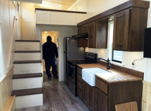 The interior of a 'tiny house' parked in front of Fresno City Hall. Fresno recently updated its development code to legalize these kinds of homes on wheels as permanent structures adjoining a residence.