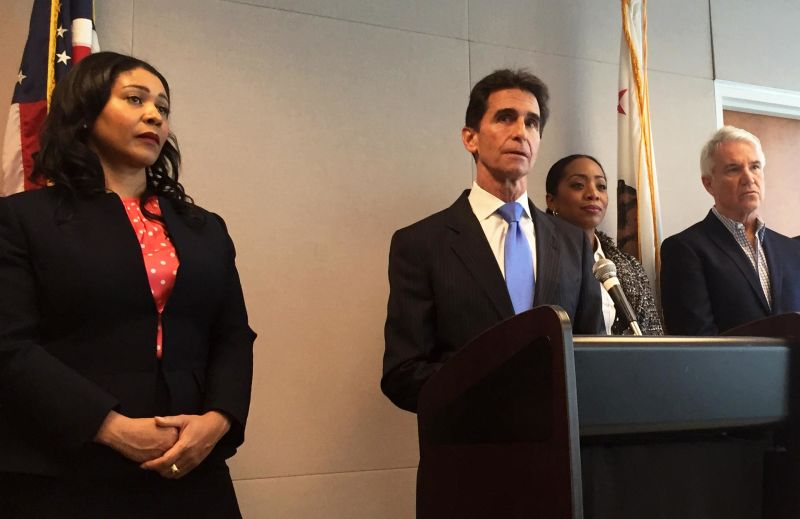 State Sen. Mark Leno announces Senate Bill 1286 at a press conference on Friday, flanked by San Francisco supervisors London Breed and Malia Cohen, and District Attorney George Gascón.