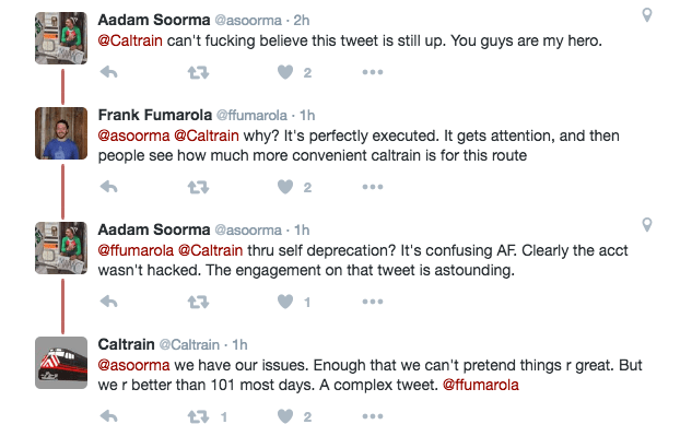 Screenshot of Twitter conversation between @Caltrain and some of its followers.