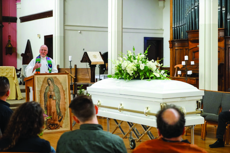 The Rev. Richard Smith at a memorial for Amilcar Perez Lopez held at the Episcopal Church of St. John the Evangelist on April 4, 2015.