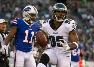 Mychal Kendricks #95 of the Philadelphia Eagles reacts after his interception against the Buffalo Bills during a preseason game on August 17, 2017.