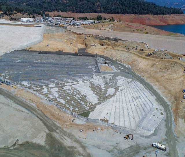 A Drone Provides A Birds Eye View Of Construction On The Lake Oroville Emergency Spillway