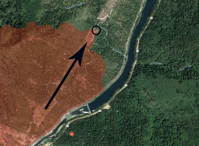 In the image above, the apparent ignition point of the Camp Fire, according to Cal Fire, is highlighted with a black circle. The black arrow is overlaid directly over the path of PG&E's transmission lines, oriented in the direction the lines run. Thus the apparent ignition point lies directly below the transmission lines. Poe Dam may be seen spanning the Feather River at bottom-left.