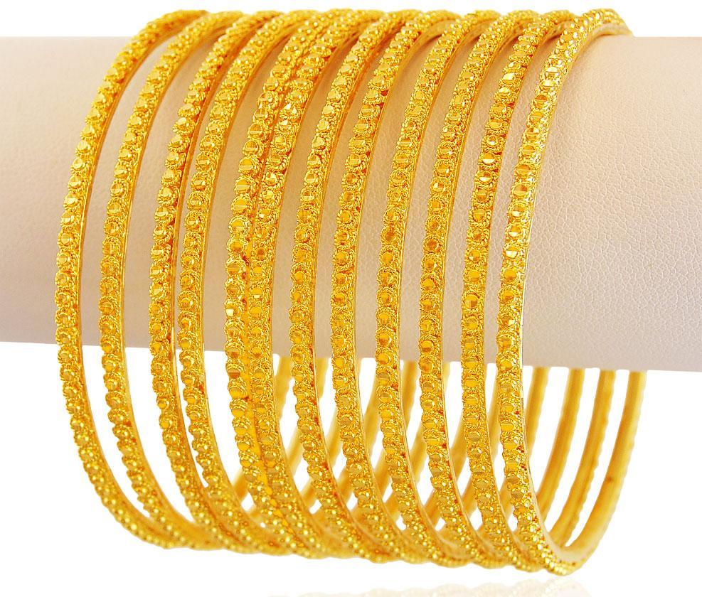Yellow Gold Churi Set 8 Pcs BaSt18071 Bangles Gt Set