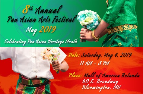 Promotional Flyer for the Festival: 8th Annual Pan Asian Arts Festival, Saturday, May 4th from 11 AM to 8 PM, at the Mall of America Rotunda.