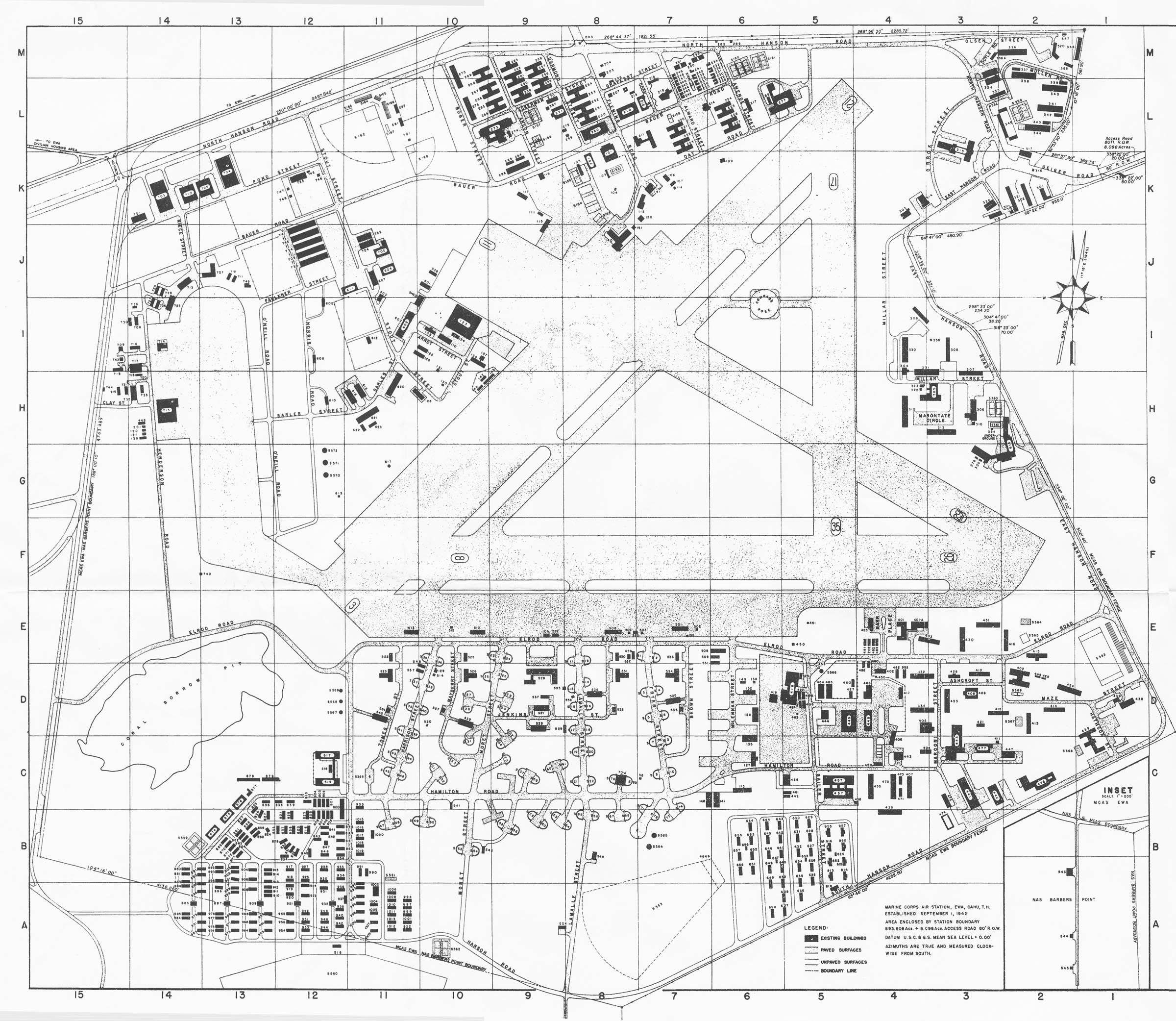 Map June Plan Of Marine Corps Air Station Ewa Oahu