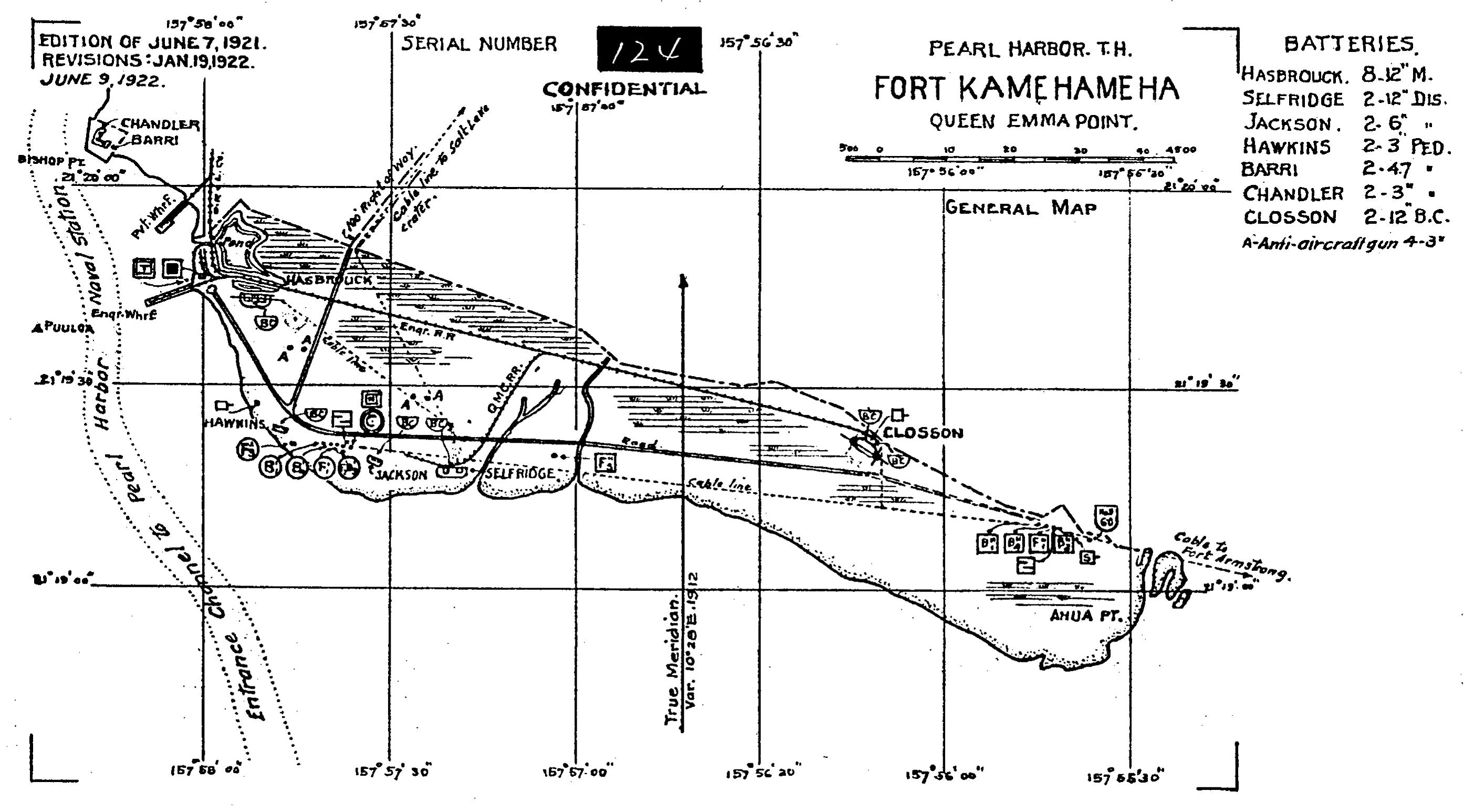 Map Diagram Of The Coastal Batteries Of Fort Kamehameha