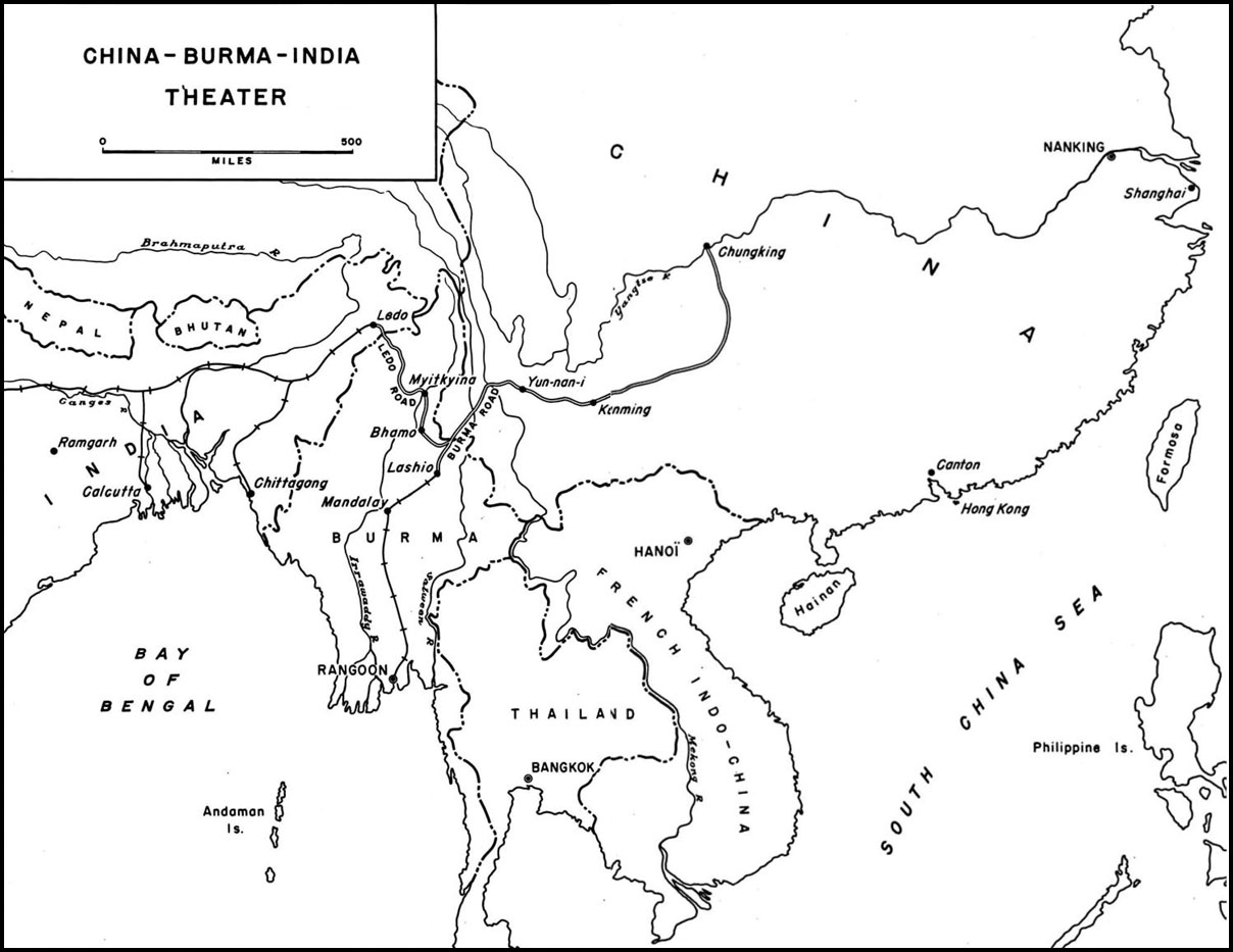 Map Map Of The China Burma India Theater Highlighting