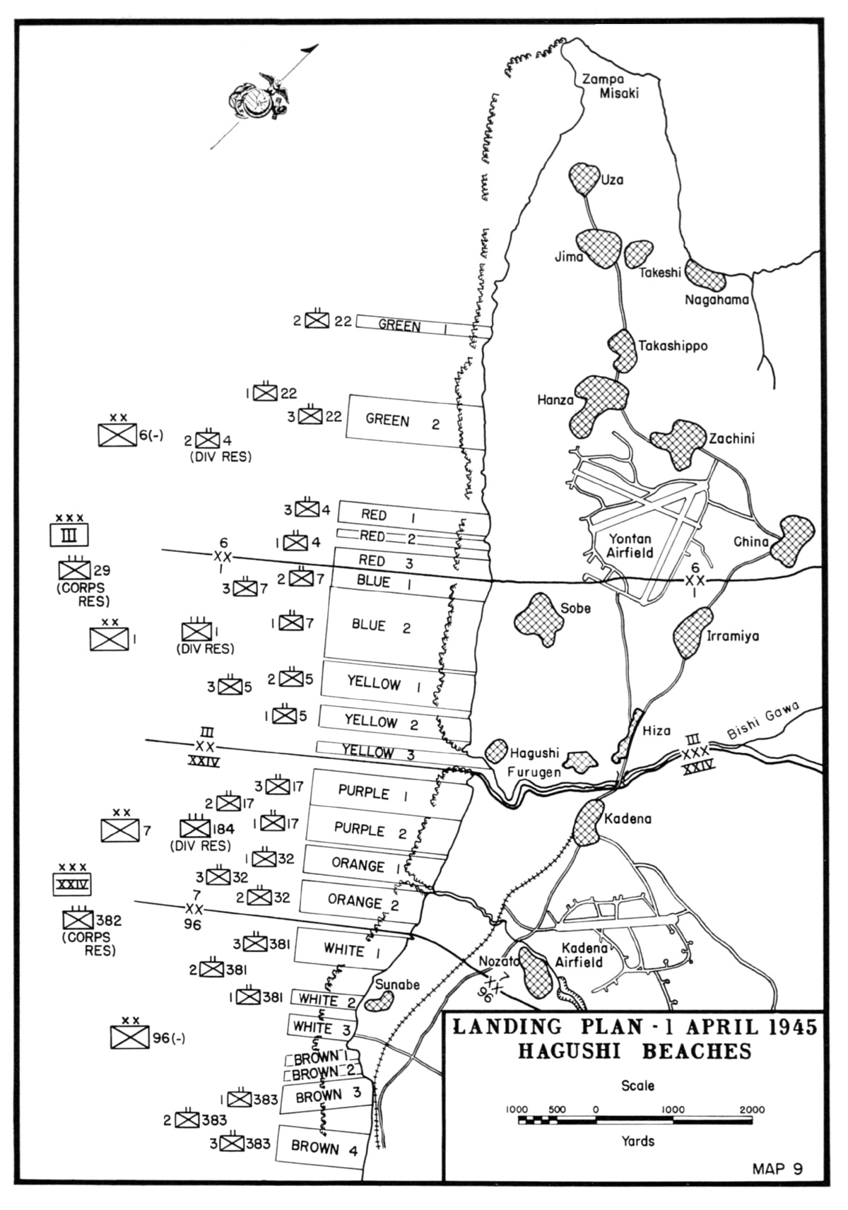 Map Map Of Landing Beaches On Okinawa Japan 1 Apr