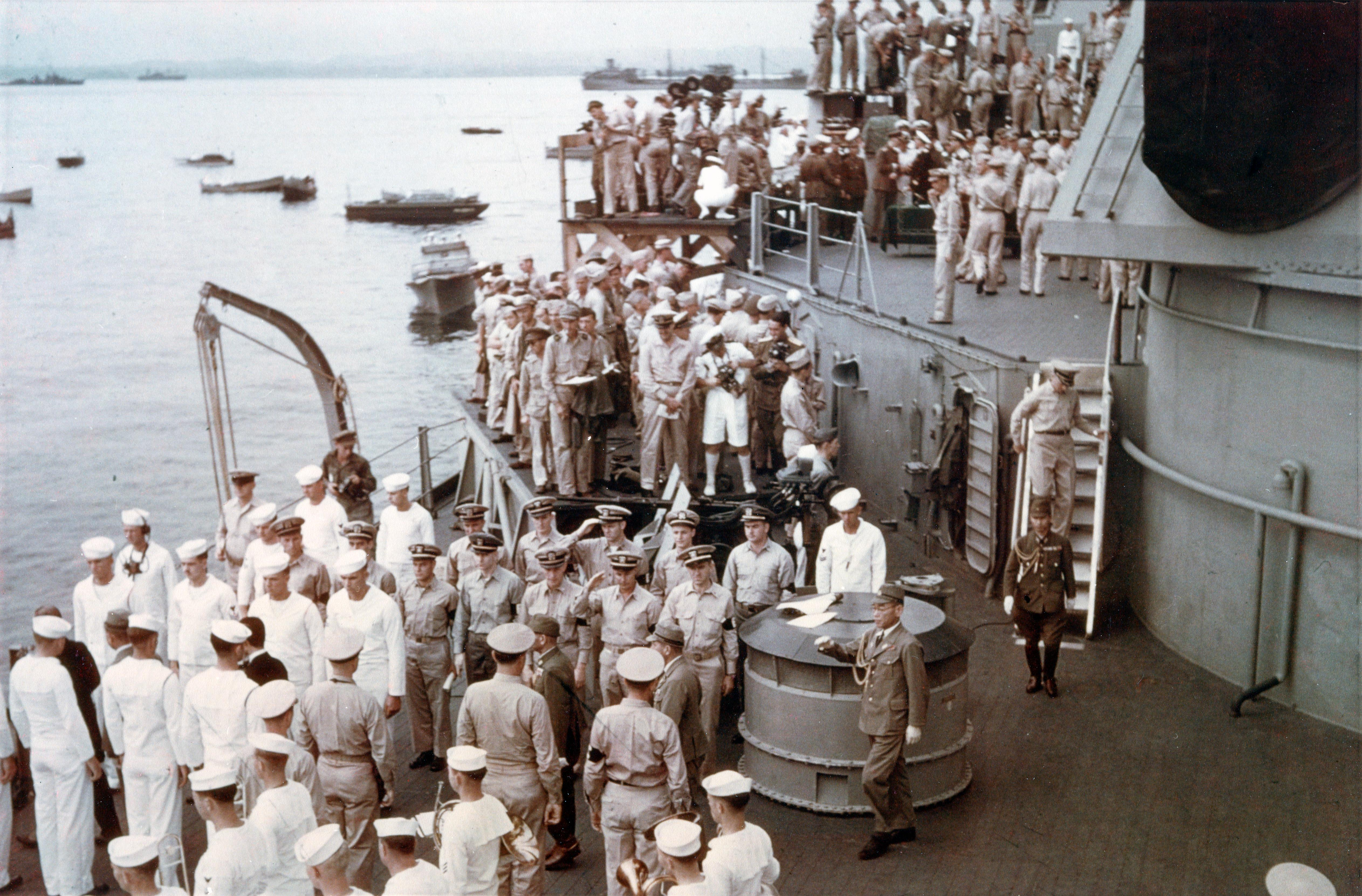 Photo Japanese Delegation Leaving The Uss Missouri In Tokyo Bay Japan After Signing The