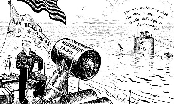 [Photo] Neutrality Patrol political cartoon by Leslie