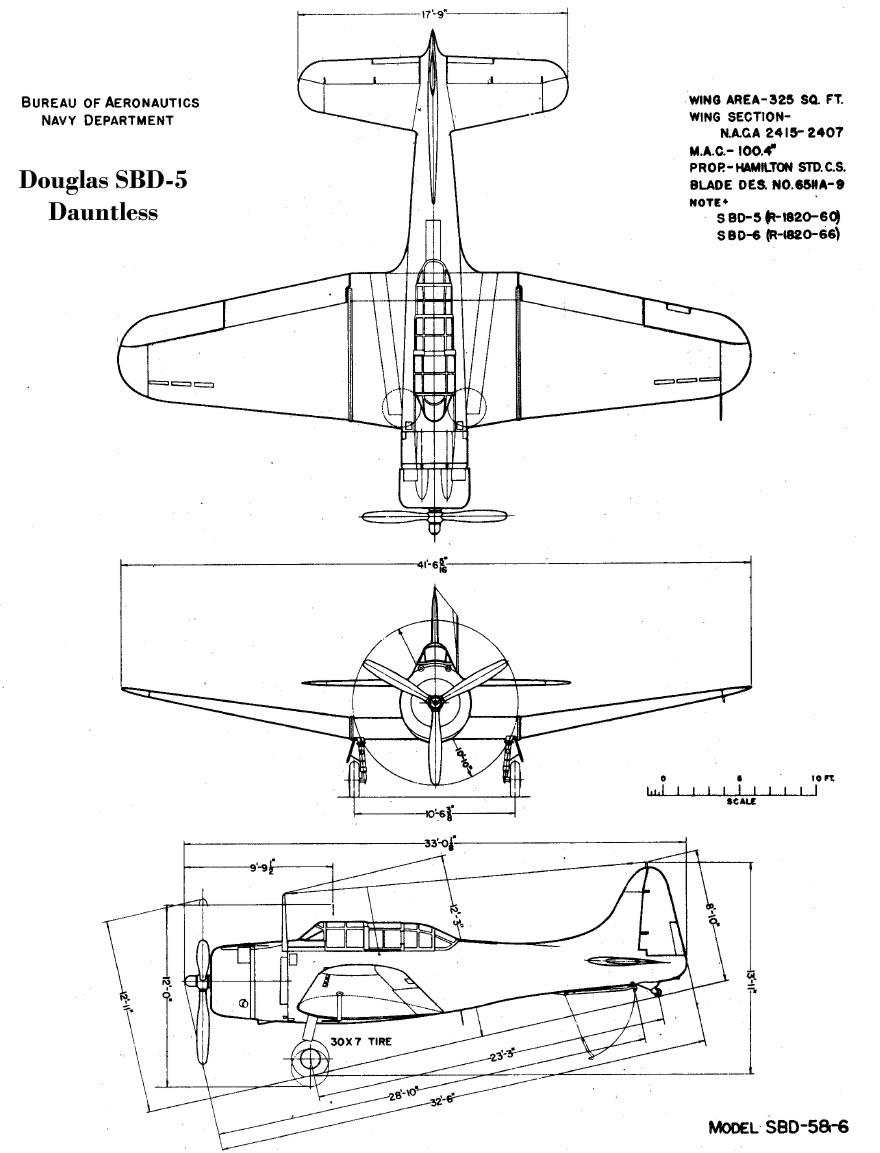 [Photo] 3-view drawing of the SBD-5 Dauntless aircraft