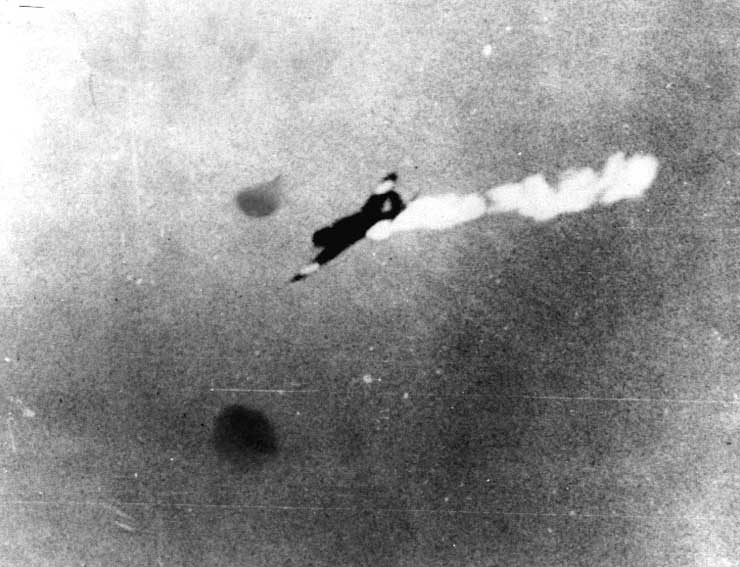 B5N 'Kate' torpedo bomber getting hit by anti-aircraft fire, Battle of Coral Sea, 8 May 1942