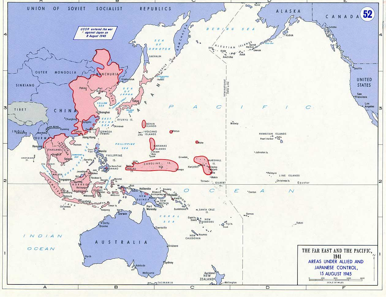 Map Map Noting Areas Of Asia And Pacific Under Allied