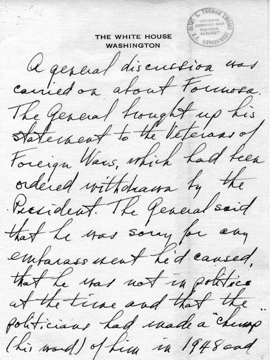 [Photo] Truman's secretary's memo regarding the Truman