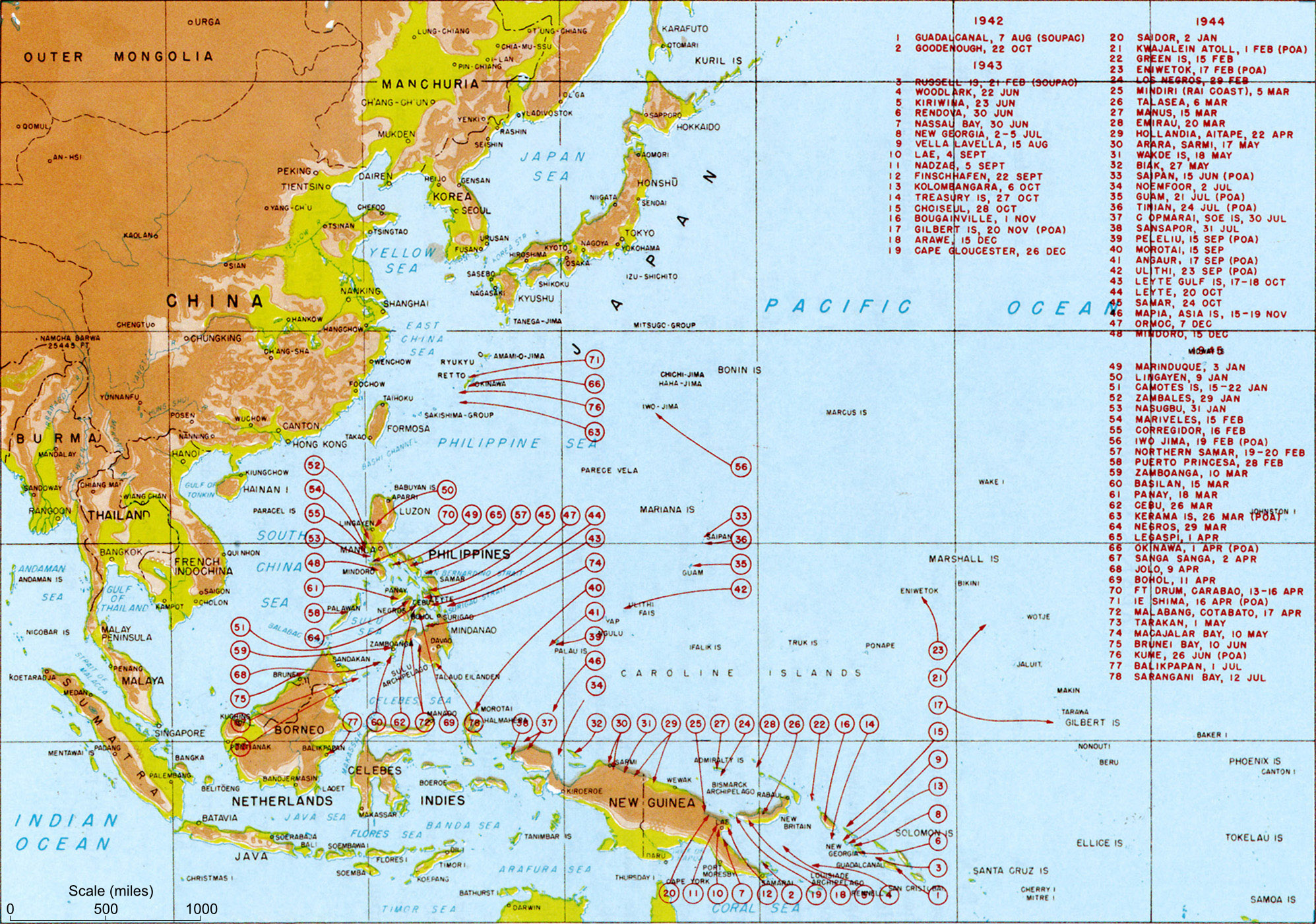Map Map Of Major Pacific War Engagements