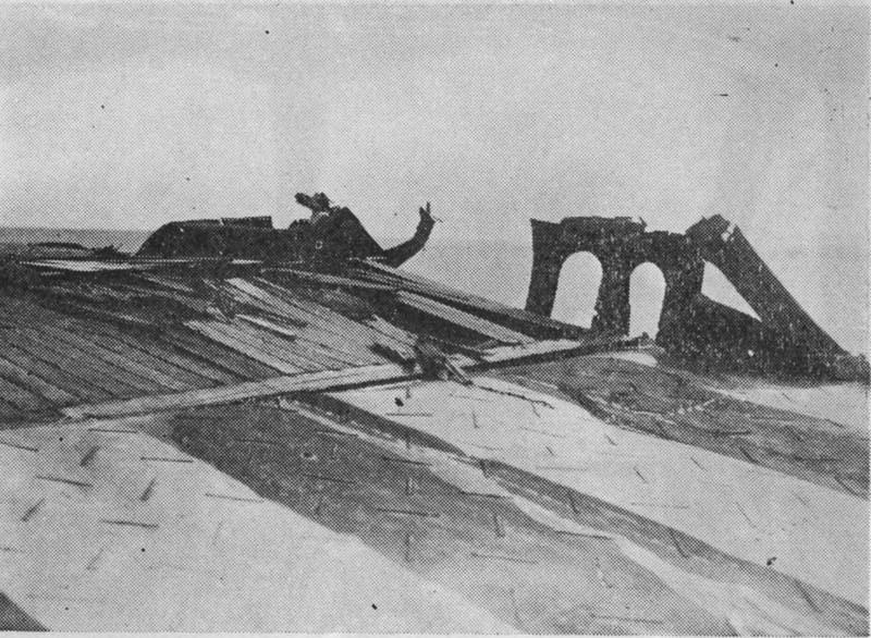 Shokaku's damaged flight deck as the result of bomb hits during Battle of the Coral Sea, Kure, Japan, between 17 May and 27 Jun 1942