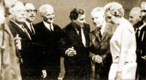 Twenty-eight years following the abduction of General Karl Kreipe, Kreipe and his wife visited Greece in 1972 and the stage of operations in Crete. In this picture we see Kreipe flanked by surviving guerrillas while talking to Leigh Fermor.