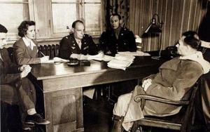 Richard Sonnenfeldt...Picture by DAN CALLISTER Richard Sonnenfeldt (far left) translates as Hitler's second in command Rudolph Hess is being interrogated for war crimes September, 1945. DAN CALLISTER Office: (001) 646.215.4964 Mobile: (001) 917.589.4976 E-mail: dancallister@earthlink.net 336 West 46th Street #2R, New York, NY 10036 USA
