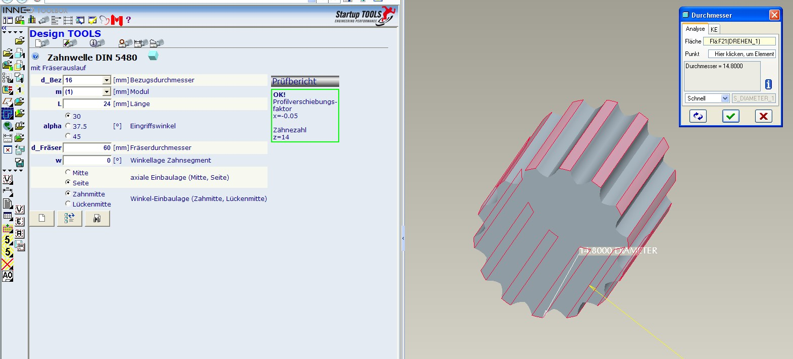 Passverzahnung DIN 5480  Fehler in den Design Tools  PTC Engineering SolutionsPro ENGINEER