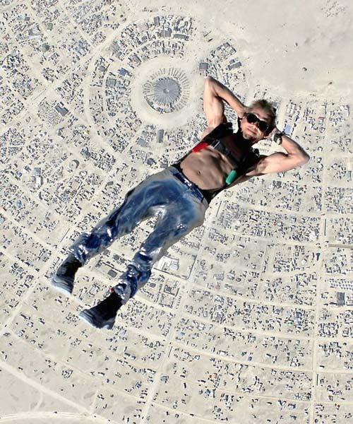 Skydiving Above Burning Man