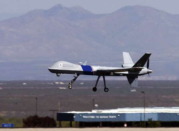 In 2006, U.S. Customs and Border Protection deployed new MQ-9 Predator B drones to patrol the southern border of the United Sates. Photo: Gary Williams, Getty Images / 2006 Getty Images