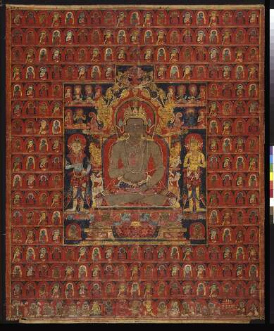 """""""The cosmic Buddha Amoghasiddhi"""" (c. 1275-1350) Tibet, Sakya Monastery, is part of the one-room exhibition looking at the symbolic structure of the painted mandala. Photo: Unknown"""