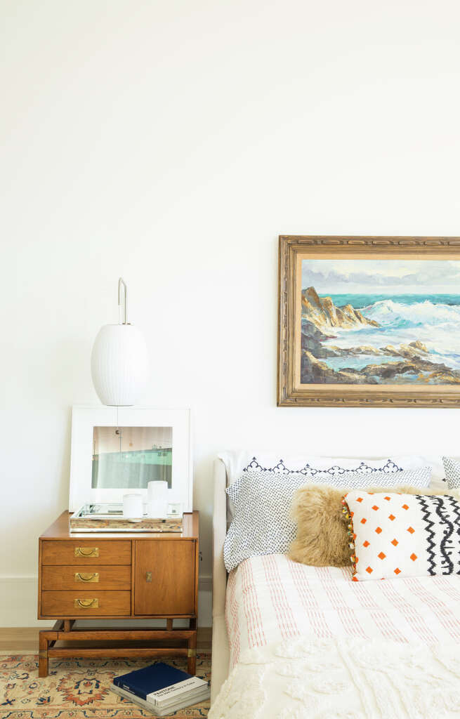 On The Wall Opposite Sink A Simple Gallery Was Created Using Prints From Artfully Walls Jessica Included Narrow Console With Vintage