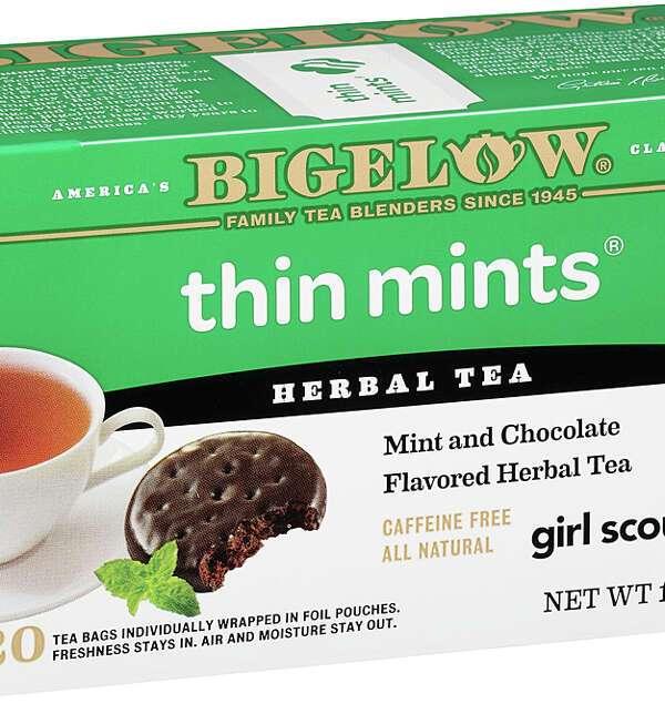 A box of Bigelow Thin Mints tea.
