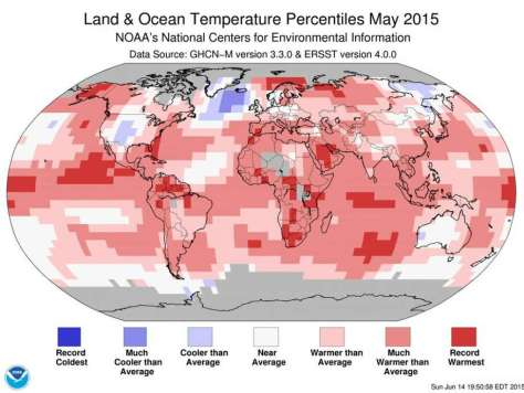 Global temperatures in May hit a record high, helping put 2015 on pace to be the hottest in history. Photo: National Oceanic And Atmospheric Administration